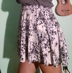 Gray Floral Skirt